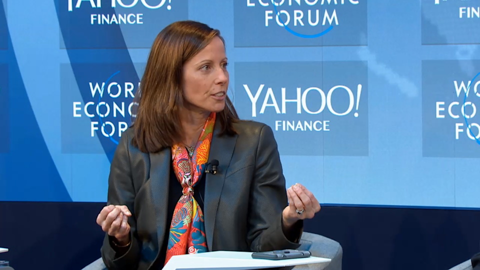 Nasdaq CEO Adena Friedman at a Yahoo Finance event on automated markets at Davos 2019. Photo: World Economic Forum.