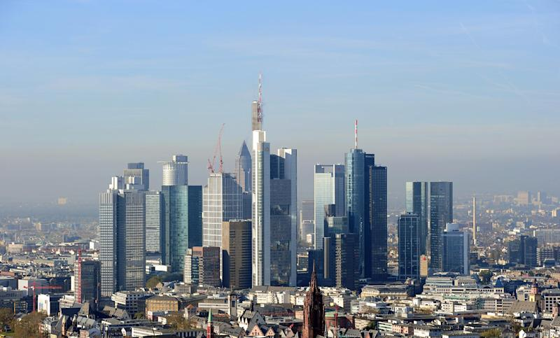 General view of the banking district in Frankfurt am Main, western Germany, on October 31, 2013