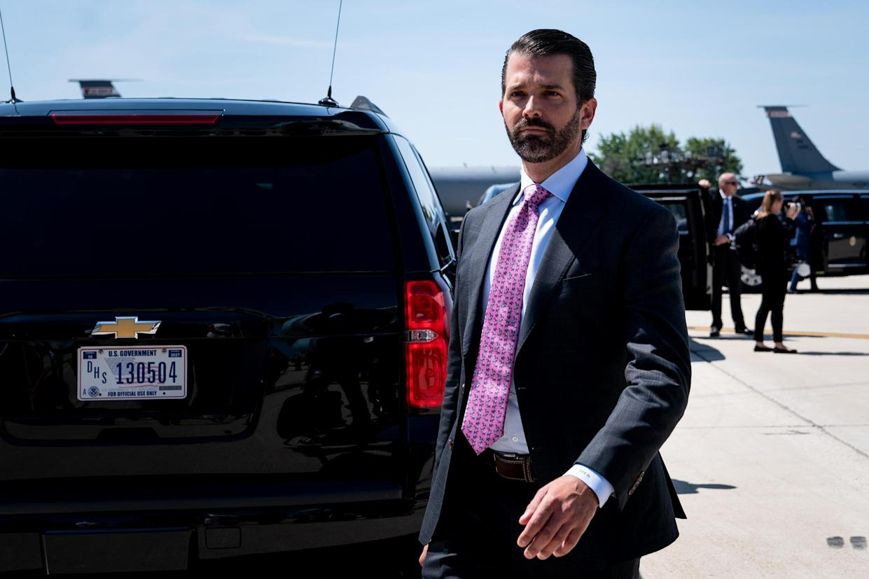 Donald Trump Jr. gets off Air Force One in Milwaukee, July 12, 2019. (Erin Schaff/The New York Times)