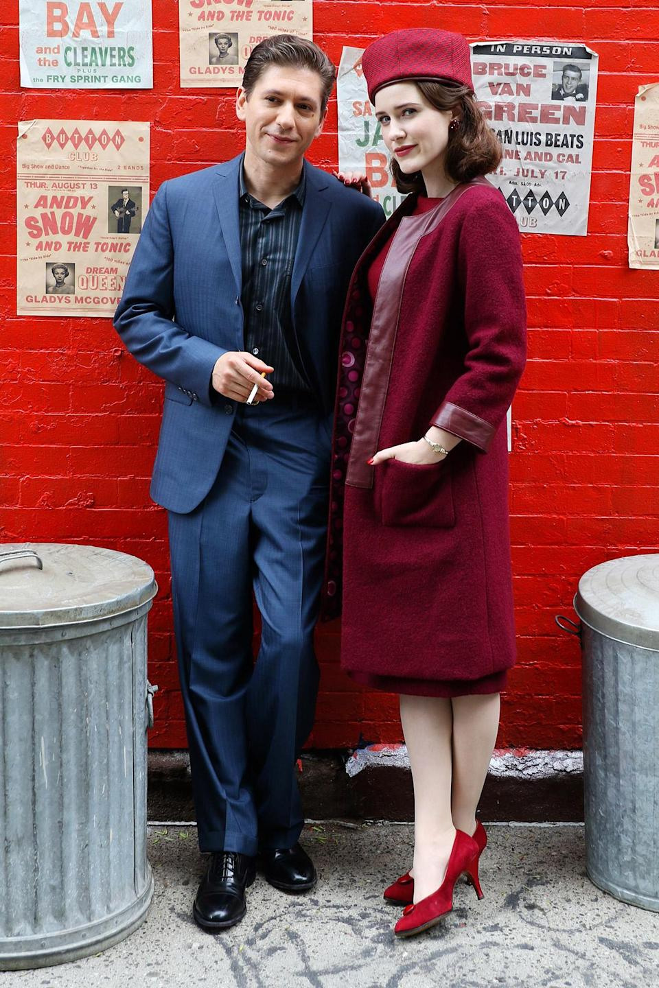 <p>Michael Zegen and Rachel Brosnahan pose for a photo while filming on June 4. </p>