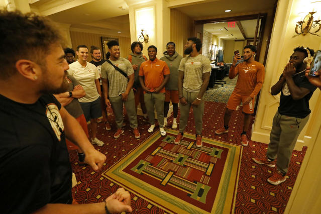 Members of the Texas Longhorns football team play Knockout Friday Sept. 6, 2019 at the team hotel in Austin, Tx. ( Photo by Edward A. Ornelas )