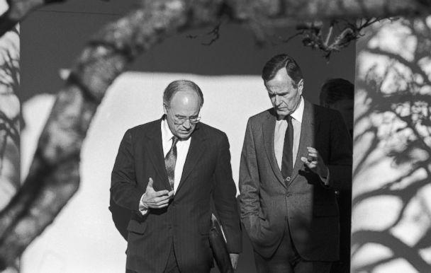 PHOTO: President George H.W. Bush and Secretary of Defense Dick Cheney discuss the run up to Operation Desert Storm as they walk near the Rose Garden at the White House, 1991. (David Hume Kennerly/Getty Images, file)