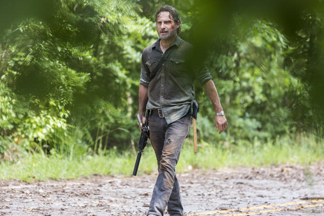 <p>Andrew Lincoln as Rick Grimes in AMC's <i>The Walking Dead.<br> (Photo: Jackson Lee Davis/AMC)</i> </p>