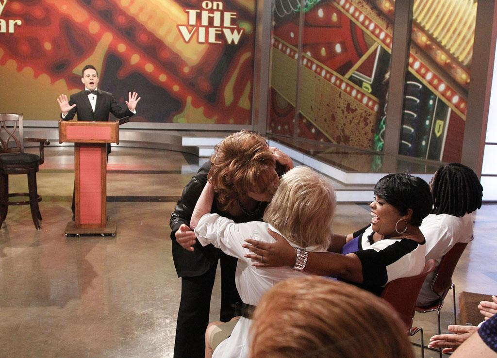 "Mario Cantone, Joy Behar, Barbara Walters, Sherri Shepherd, Whoopi Goldberg on Joy's final episode as co-host of ABC's ""The View"" on Friday, August 9, 2013."