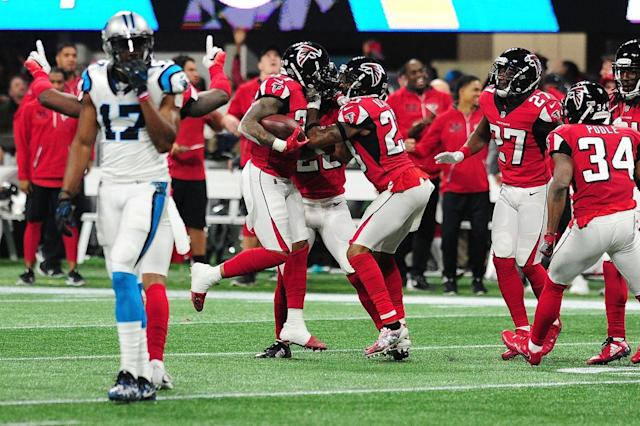 The Atlanta Falcons celebrated a return to the playoffs. (Getty)
