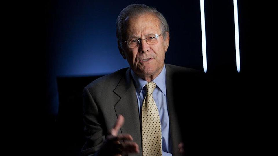 """Former Secretary of Defense Donald Rumsfeld being interviewed for Discovery Channel's documentary, """"The Presidents' Gatekeepers in 2012"""