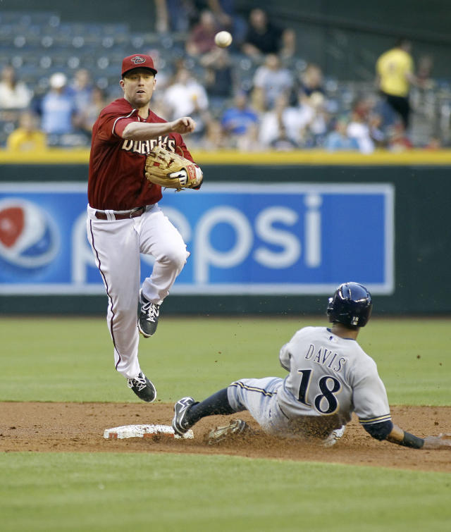Arizona Diamondbacks second baseman Aaron Hill, left, throws to first to complete a double play after forcing out Milwaukee Brewers' Kris Davis, right, on a ground ball by Brewers' Mark Reynolds during the second inning of a baseball game on Wednesday, June 18, 2014, in Phoenix. (AP Photo/Ralph Freso)