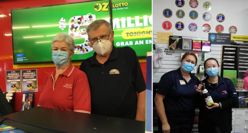 Staff from Gunnedah Newsagency (left) and Central Lotto (right). Source: The Lott (supplied)