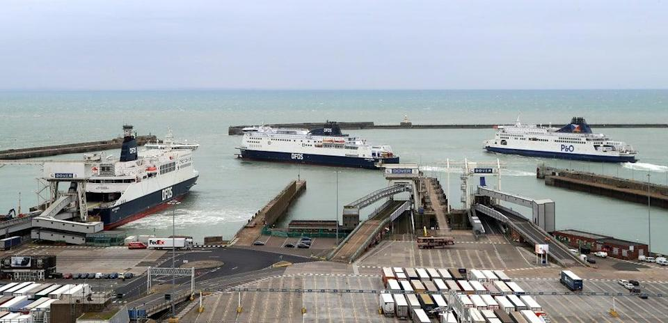 Ferries arrive and leave at the Port of Dover in Kent (PA)