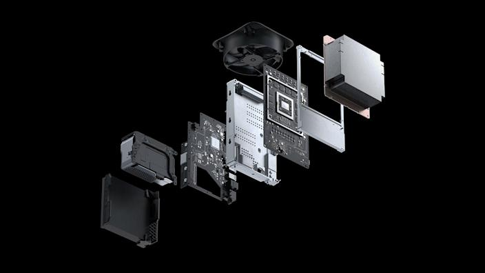 A deconstructed rendering of the new Xbox Series X' high-tech components.
