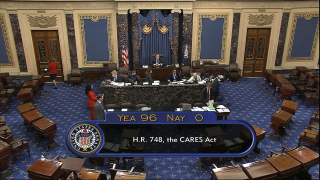 The final vote of 96-0 shows passage of the $2.2trn economic rescue package in response to coronavirus pandemic passed by the US Senate. (Senate Television via AP)