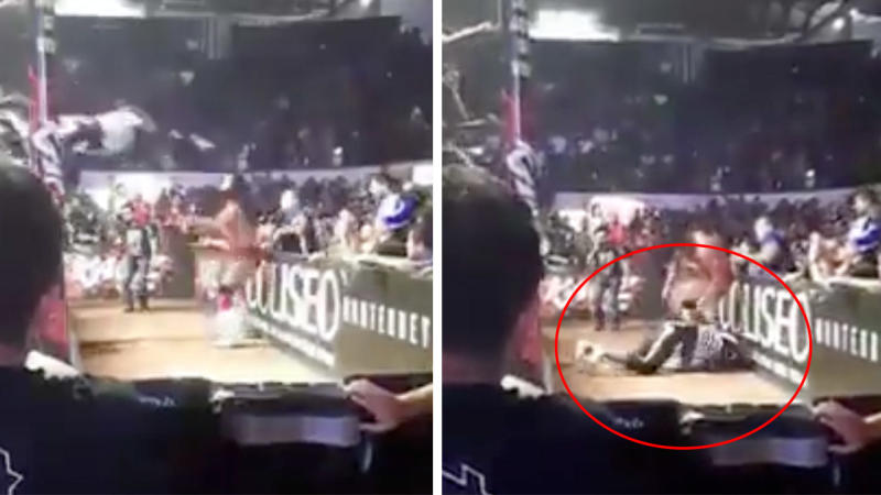 Mexican wrestler from AAA known as La Parka hitting his head on the protective barrier.