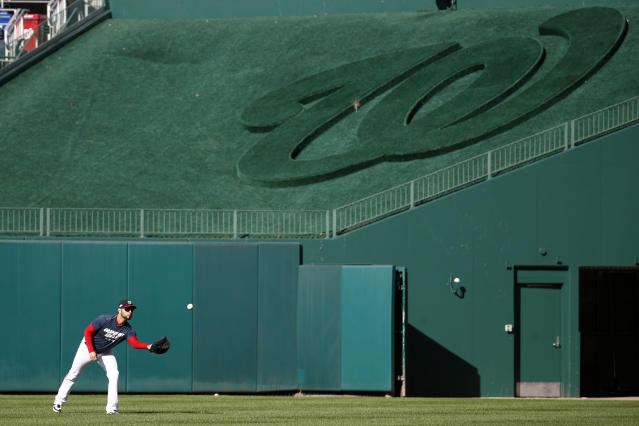 Washington Nationals pitcher Anibal Sanchez participates in a baseball workout, Friday, Oct. 18, 2019, in Washington, in advance of the team's appearance in the World Series. (AP Photo/Patrick Semansky)