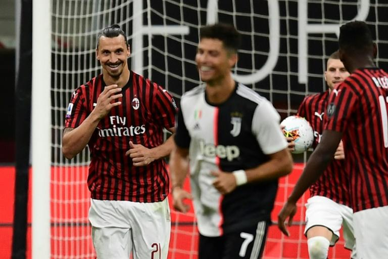 Zlatan Ibrahimovic shared a joke with Cristiano Ronaldo after scoring a penalty that helped AC Milan to a 4-2 win over Serie A leaders Juventus
