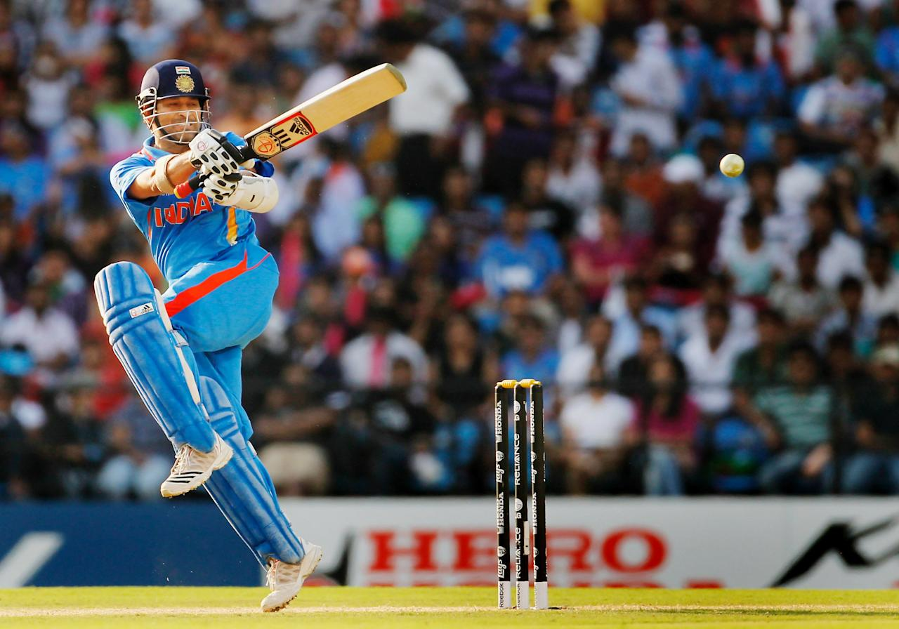 NAGPUR, INDIA - MARCH 12:  Sachin Tendulkar of India bats during the Group B ICC World Cup Cricket match between India and South Africa at Vidarbha Cricket Association Ground on March 12, 2011 in Nagpur, India.  (Photo by Daniel Berehulak/Getty Images)