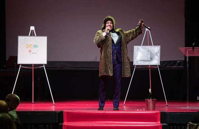 CK Swett sports a fur coat for auction at the 2018 New York Live Arts Gala at Irving Plaza (Noam Galai/Getty Images)