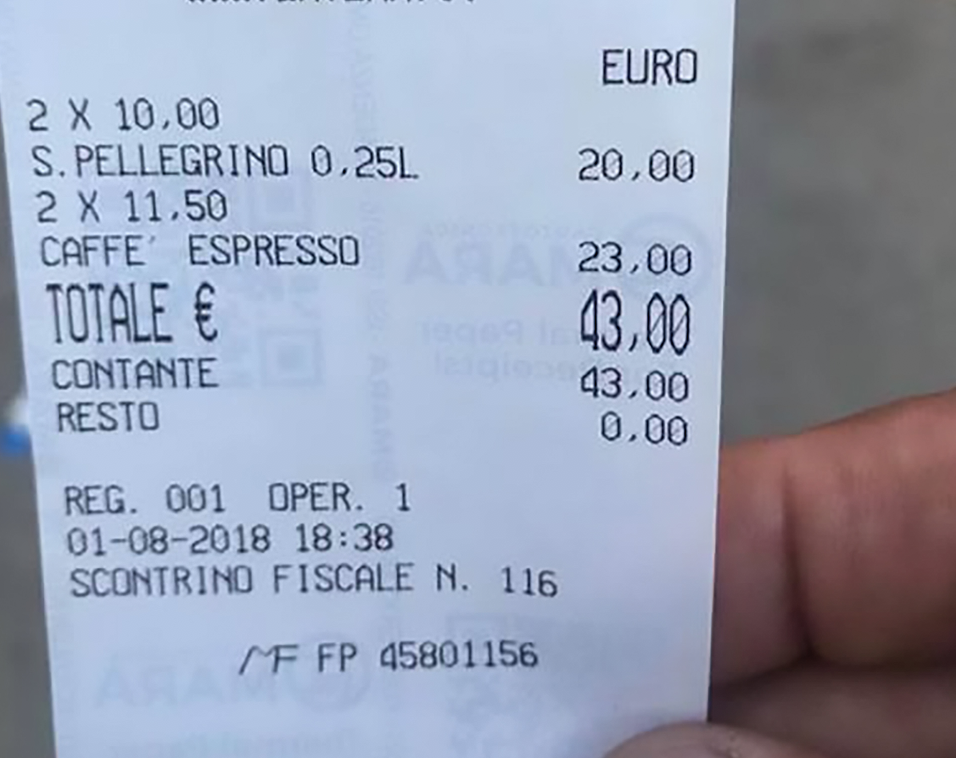 The rip-off bill charged 20 Euros for two waters and 23 Euros for two coffees. (CEN)