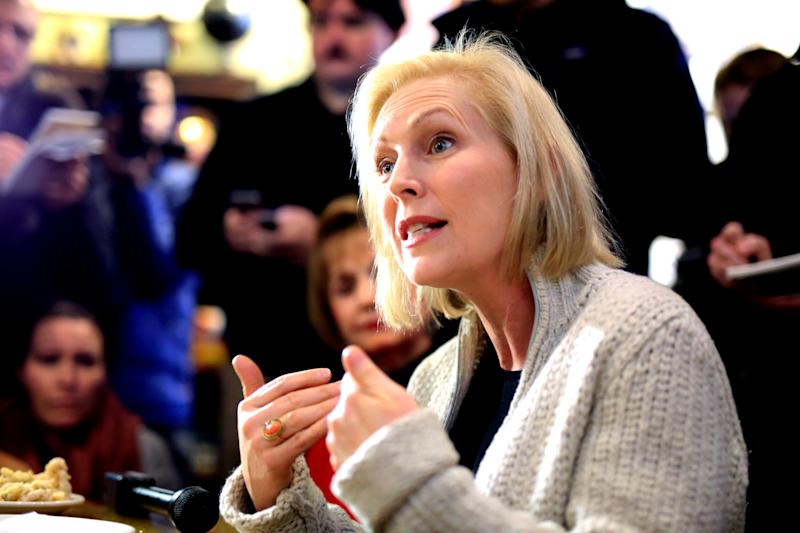 In this Jan. 18, 2019, photo, Sen. Kirsten Gillibrand, D-N.Y., meets with residents at the Pierce Street Coffee Works cafe, in Sioux City, Iowa. The 2020 presidential election already includes more than a half-dozen Democrats whose identities reflect the nation's growing diversity, as well as embody the coalition that helped Barack Obama first seize the White House in 2008 (AP Photo/Nati Harnik)