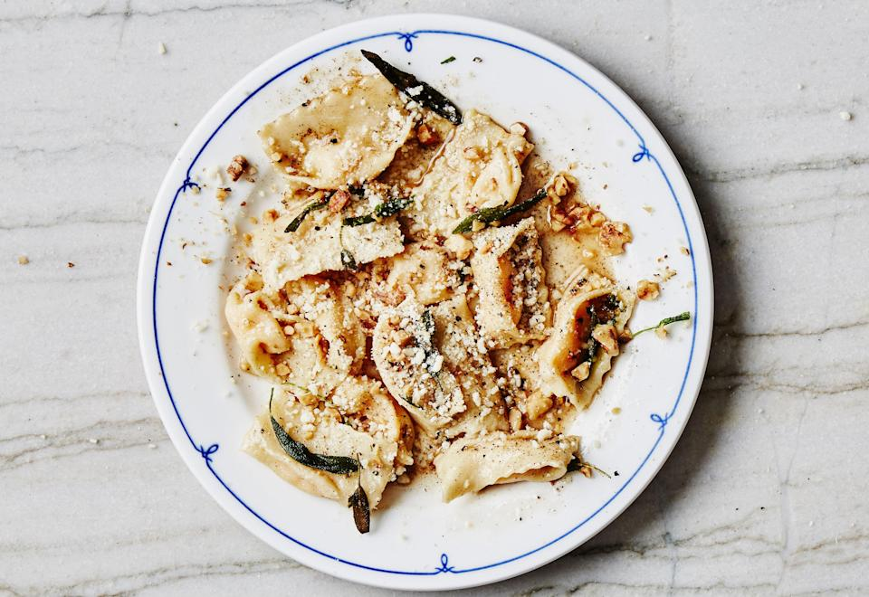 "Agnolotti is one of our favorite pasta shapes because the little pockets catch the sauce; try a variation with a simple ricotta filling and marinara sauce instead. Here are step-by-step instructions <a href=""http://www.bonappetit.com/test-kitchen/primers/article/how-to-shape-agnolotti?mbid=synd_yahoo_rss"" rel=""nofollow noopener"" target=""_blank"" data-ylk=""slk:on how to make agnolotti"" class=""link rapid-noclick-resp"">on how to make agnolotti</a>. <a href=""https://www.bonappetit.com/recipe/butternut-squash-agnolotti?mbid=synd_yahoo_rss"" rel=""nofollow noopener"" target=""_blank"" data-ylk=""slk:See recipe."" class=""link rapid-noclick-resp"">See recipe.</a>"