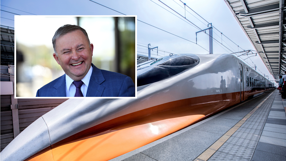 Anthony Albanese has thrown his support behind a high-speed rail. Images: AAP