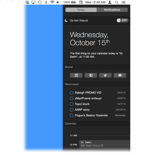 Today view in OS X Yosemite