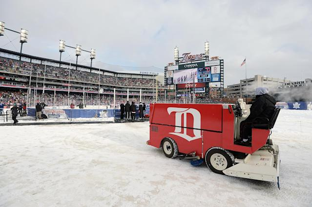 DETROIT, MI - DECEMBER 31: An ice resurfacing machine waits for players from the Toronto Maple Leafs and the Detroit Red Wings to leave the ice after the first game of the 2013 Hockeytown Winter Festival Alumni Showdown on December 31, 2013 at Comerica Park in Detroit, Michigan. (Photo by Jamie Sabau/Getty Images)