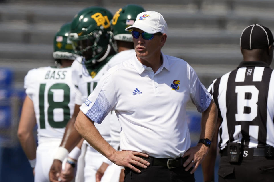 Kansas head coach Lance Leipold looks over his opponent before an NCAA college football game against Baylor in Lawrence, Kan., Saturday, Sept. 18 2021. (AP Photo/Orlin Wagner)