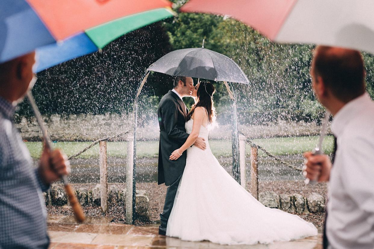 """""""Rebecca and Paul got married at Doxford Barns, Northumberland on July 22. It rained all day long but it didn't stop us from getting a few shots outside."""" --&nbsp;<i>Paul Liddement</i>"""