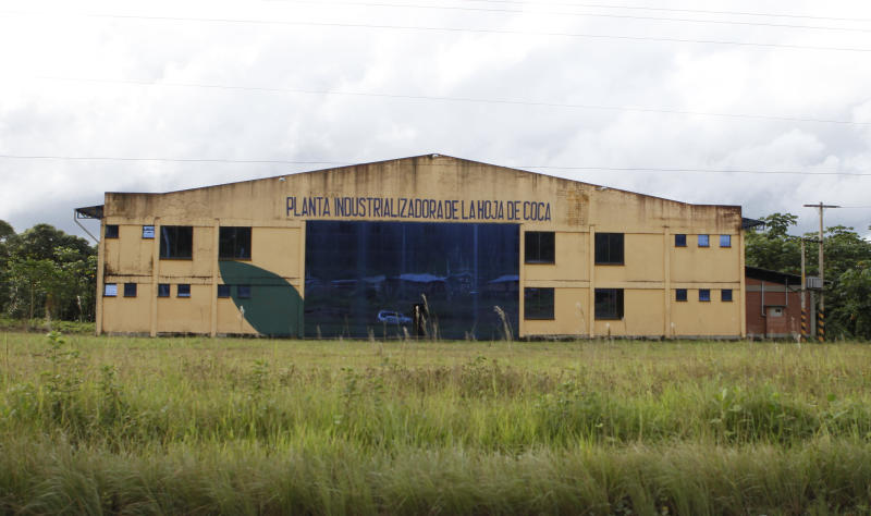This April 12, 2013 photo, shows the Ebococa industrial plant in Villa Tunari, Bolivia. Bolivia's President Evo Morales has convinced regional allies to both invest in coca food processing plants in Bolivia and import coca products to their own countries. The late Venezuelan President Hugo Chavez sank $900,000 in the Ebococa plant in Villa Tunari, which Morales had trumpeted as the country's first to produce coca-based food. (AP Photo/Juan Karita)