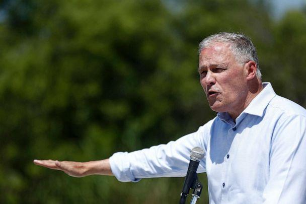 PHOTO: Democratic presidential candidate Washington Gov. Jay Inslee speaks during a news conference at the Everglades Holiday Park, June 24, 2019, in Fort Lauderdale, Fla. (Brynn Anderson/AP)