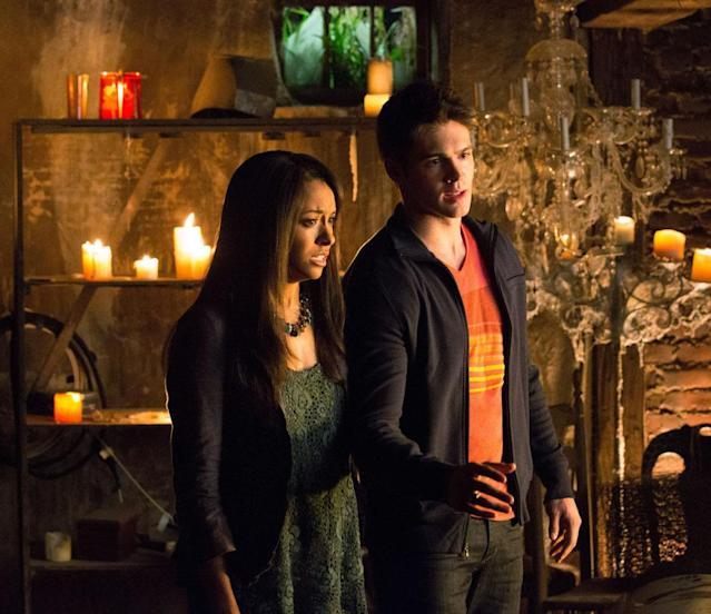 "Kat Graham as Bonnie and Steven R. McQueen as Jeremy Gilbert in ""Growing Pains,"" the Season 4 premiere episode of ""The Vampire Diaries."""
