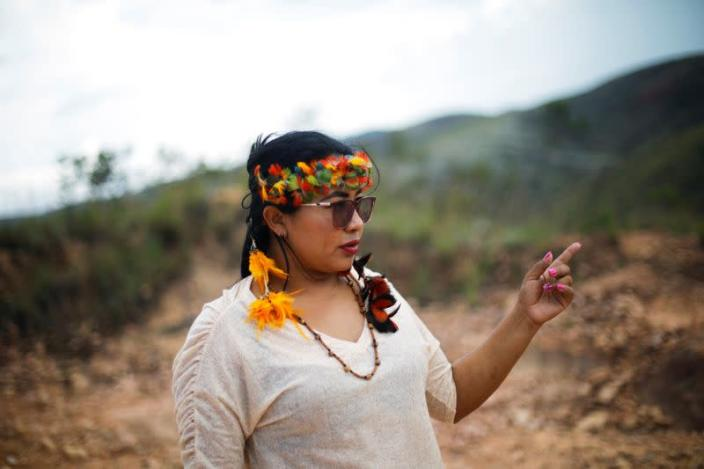 Irisnaide Silva, 32, an Indigenous leader of one of two main indigenous groups in the Amazonian state of Roraima, gestures in the Raposa Serra do Sol reservation