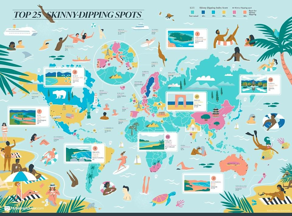 Illustrated map of the top 25 skinny dipping spots around the world. Photo: supplied.