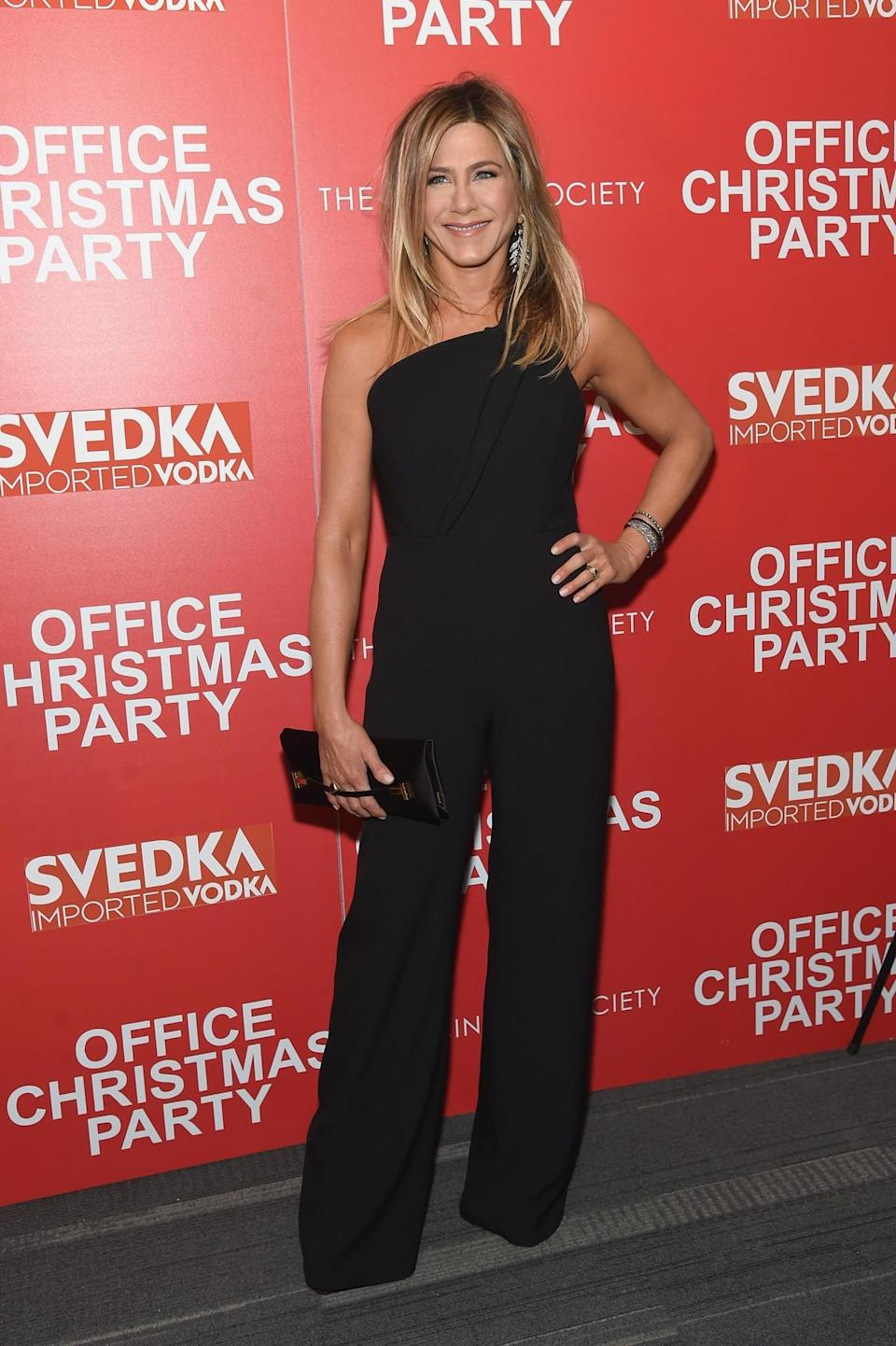<p>Jennifer's latest outing saw the actress don a one-shouldered jumpsuit by Brandon Maxwell. <i>[Photo: Getty]</i> </p>