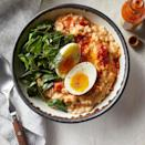 <p>Have you tried savory oats yet? It's a nice change-up from the sweet way oatmeal is typically served, plus you get a full serving of vegetables. Serve with hot sauce, if desired.</p>
