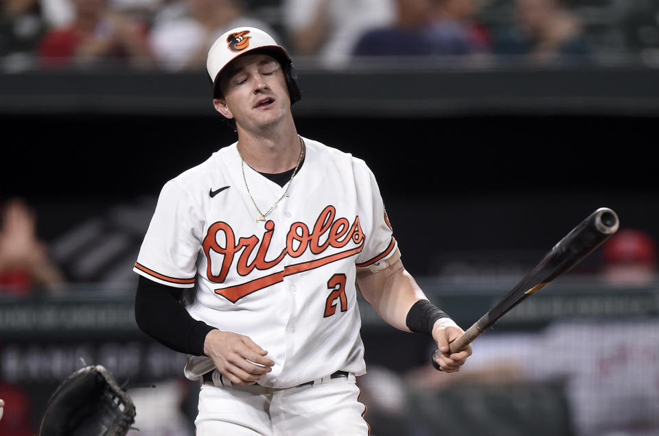 Austin Hays of the Baltimore Orioles reacts after striking out. (Photo by Greg Fiume/Getty Images)