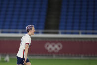 United States' Megan Rapinoe celebrates after scoring the winning goal and defeating the Netherlands in a penalty shootout during a women's quarterfinal soccer match at the 2020 Summer Olympics, Friday, July 30, 2021, in Yokohama, Japan. (AP Photo/Silvia Izquierdo)