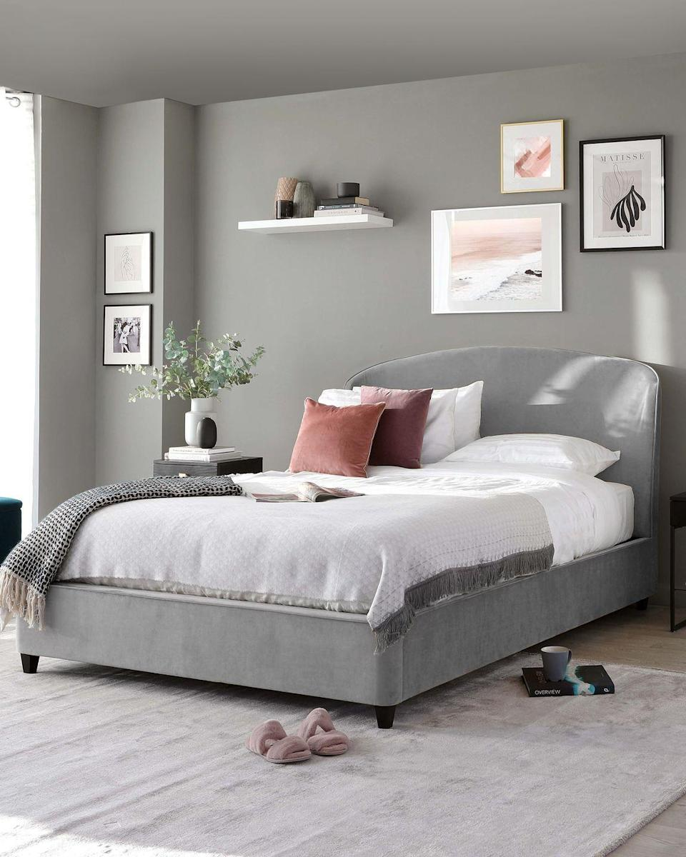 """<p>'Create a calming bedroom by starting with a grey base,' says Francesca Birch, designer at Danetti. 'Warm up the space by introducing shades of pink — by choosing a more muted tone of these shades means you can end up with a calming, pastel colour palette for your bedroom.'</p><p>• Shop the look at <a href=""""https://www.danetti.com/"""" rel=""""nofollow noopener"""" target=""""_blank"""" data-ylk=""""slk:Danetti"""" class=""""link rapid-noclick-resp"""">Danetti</a></p>"""