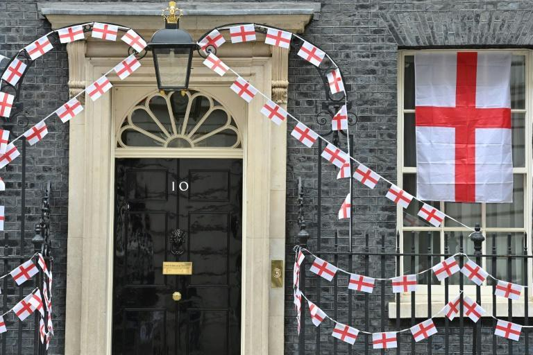 Number 10 Downing Street has been decorated with England flags
