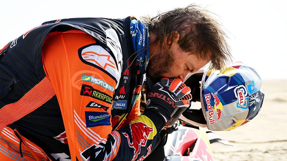 Aussie Dakar champion Toby Price (pictured) concentrating before the Dakar Race.