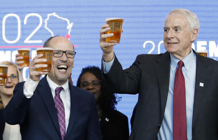 Milwaukee Mayor Tom Barrett, right, and Democratic National Committee Chairman Tom Perez celebrate the selection of Milwaukee as the 2020 Democratic National Convention host city. (Photo: Kamil Krzaczynski/AFP/Getty Images)