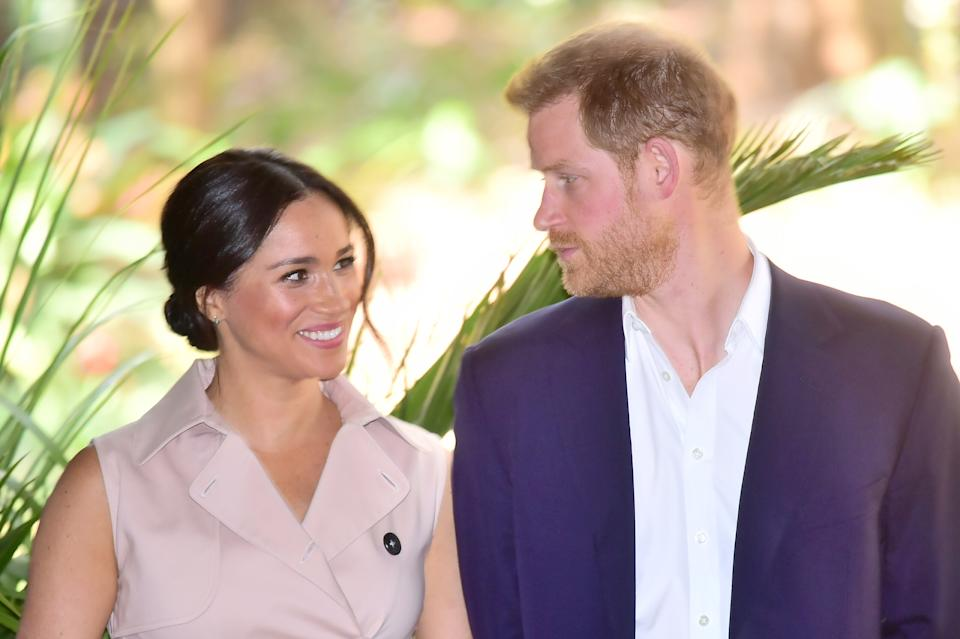 JOHANNESBURG, SOUTH AFRICA - OCTOBER 02: Prince Harry, Duke of Sussex and Meghan, Duchess of Sussex visit the British High Commissioner's residence to attend an afternoon Reception to celebrate the UK and South Africa's important business and investment relationship, looking ahead to the Africa Investment Summit the UK will host in 2020.  This is part of the Duke and Duchess of Sussex's royal tour to South Africa. on October 02, 2019 in Johannesburg, South Africa. (Photo by Samir Hussein/WireImage)