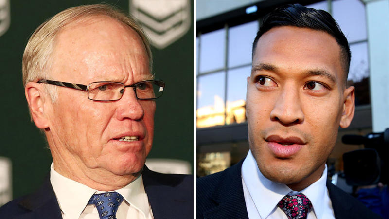 RLIF chairman and ARLC chairman Petter Beattie (pictured left) and Israel Folau (pictured right). (Getty Images)
