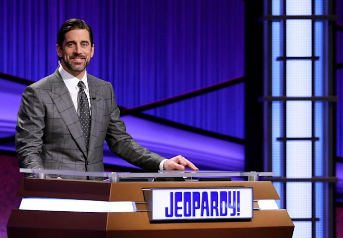 NFL MVP (and former 'Celebrity Jeopardy!' winner) Aaron Rodgers surprised as guest host in April.
