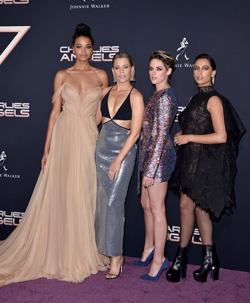 "LOS ANGELES, CALIFORNIA - NOVEMBER 11: (L-R) Ella Balinska, Elizabeth Banks, Kristen Stewart and Naomi Scott attend the Premiere of Columbia Pictures' ""Charlie's Angels"" at Westwood Regency Theater on November 11, 2019 in Los Angeles, California. (Photo by Axelle/Bauer-Griffin/FilmMagic)"