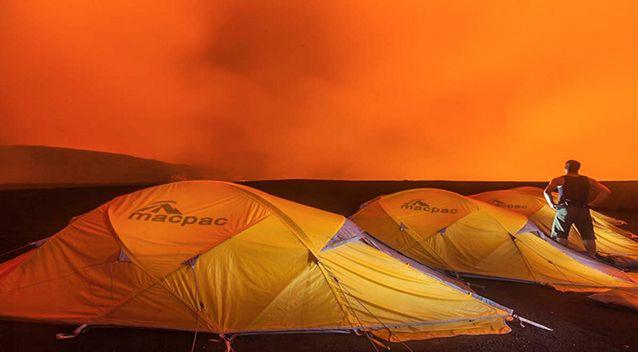The group spent a week camping 400m inside the crater of the volcano. Photo: Bradley Ambrose