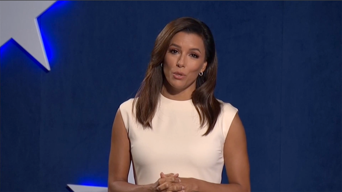 Eva Longoria hosts the the virtual Democratic National Convention on August 17, 2020. (via Reuters TV)