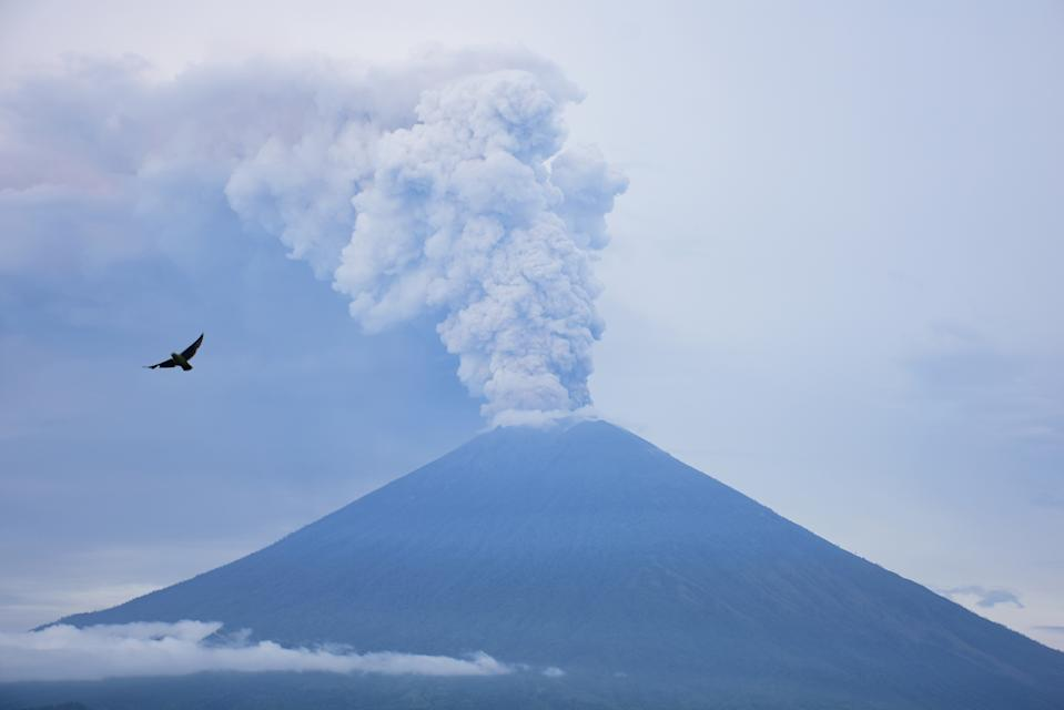 A bird flew around Lempuyang Temple, Karangasem while Mount Agung was erupting, Indonesia, on November 28, 2017.  The status of Mount Agung disaster increased to level IV. This is because the type of phreatic eruption (smoke and material gas eruption) has turned into a magmatic phase. In the type of phreatomagmatic eruption, usually occurs magma event that erupts in direct contact with water in the crater lake.(Photo by Keyza Widiatmika/NurPhoto via Getty Images)