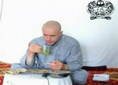 U.S. Army Private Bowe Bergdahl eats in a video released by his captors at an unknown location in Afghanistan