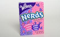 <p>Remember the Willy Wonka Candy Company that brought us Nerds in the 1980s? Well these adorable uneven moon rock candies are vegan. The double flavoured boxes packed with rainbow sweets are as popular today as they were decades ago. Look for the mini Nerd boxes in kid's Halloween loot bags. </p>